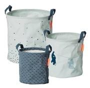 Done by Deer Round storage baskets blue