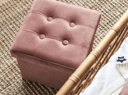 Kid's concept Poef & opbergbox, velvet roze