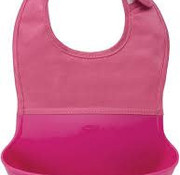 oxotot Roll up bib with spilling flap pink