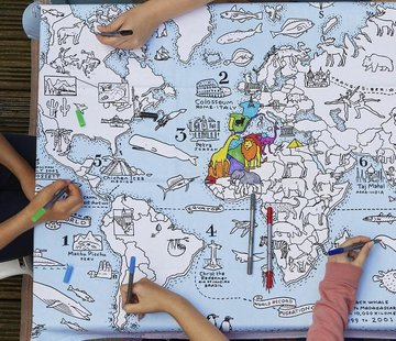 eat sleep doodle Table cloth, world map
