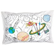eat sleep doodle Pillow case, space