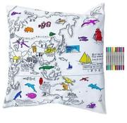 eat sleep doodle Kussensloop, doodle, wereldkaart