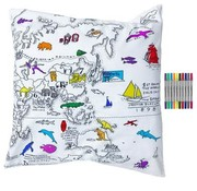 eat sleep doodle Pillow case, world map