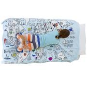 eat sleep doodle Donsovertrek, doodle, wereldkaart
