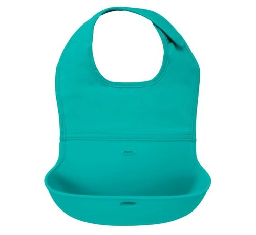 oxotot Roll up bib with spilling flap teal