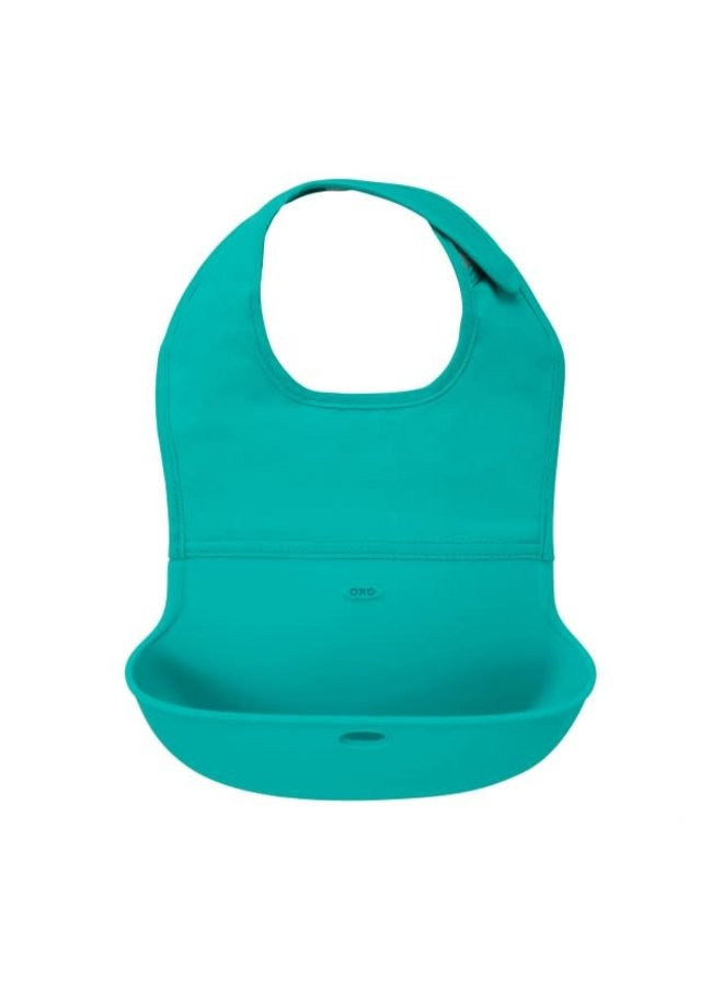 Roll up bib with spilling flap teal