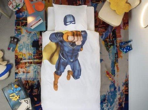 snurk Snurk superheld blauw overtrek eenpersoonsbed 140 x 220 cm