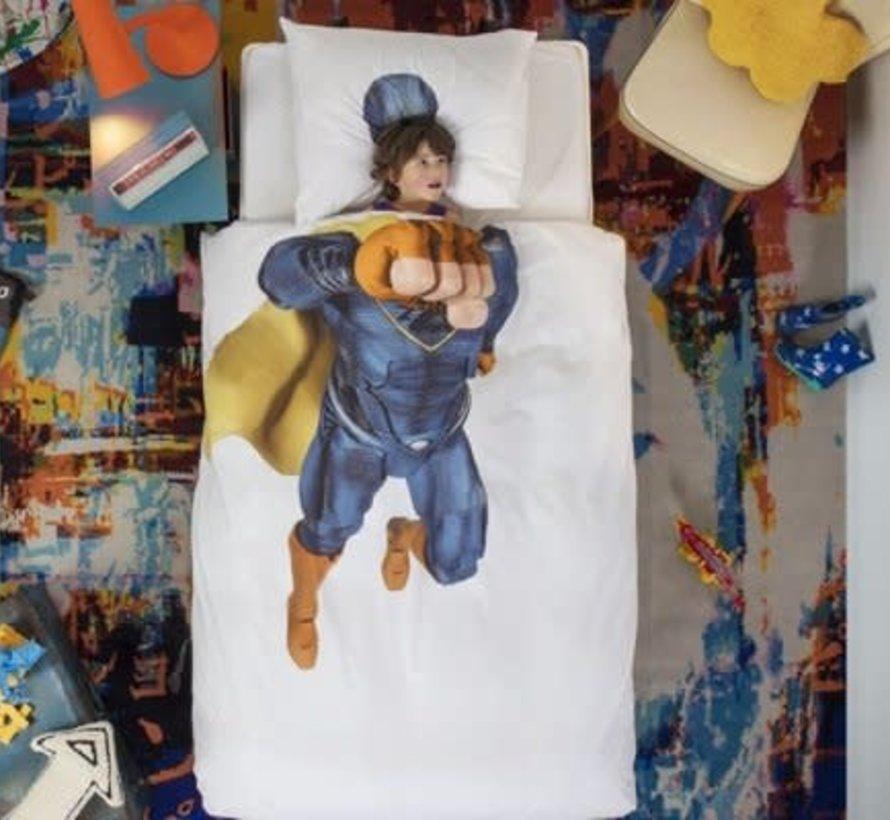 Snurk superheld blauw overtrek eenpersoonsbed 140 x 220 cm