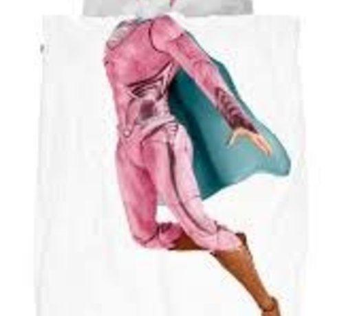 snurk Snurk bedlinnen superhero for single bed pink 140 x 220 cm