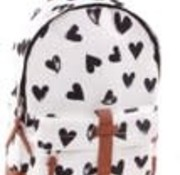 kidzroom Backpack white with black hearts