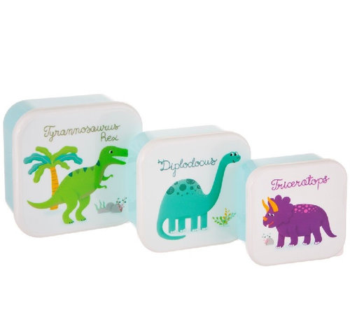 Sass & Belle Set of 3 snack boxes roarsome dino