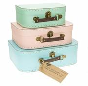 Sass & Belle Set van 3 pastel koffertjes