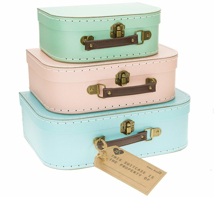 Set of 3 little pastel suitcases