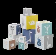 Fresk Stapelblokken giraffe swan donker