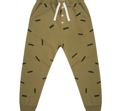 Little Indians Pants olive stripe