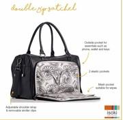 Isoki Verzorgingstas double zip satchel onyx black