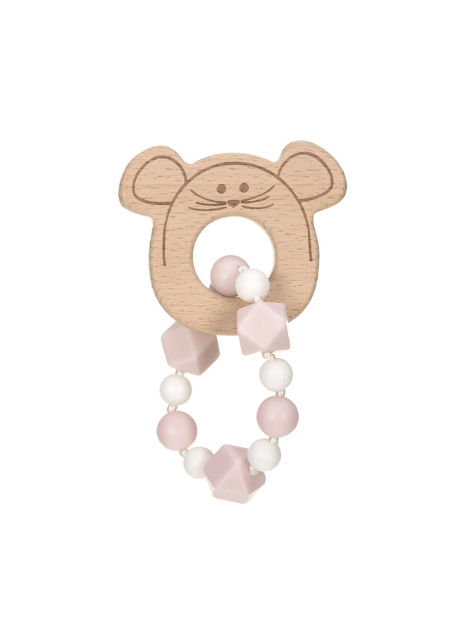 Teething ring Little Chums with bracelet pink
