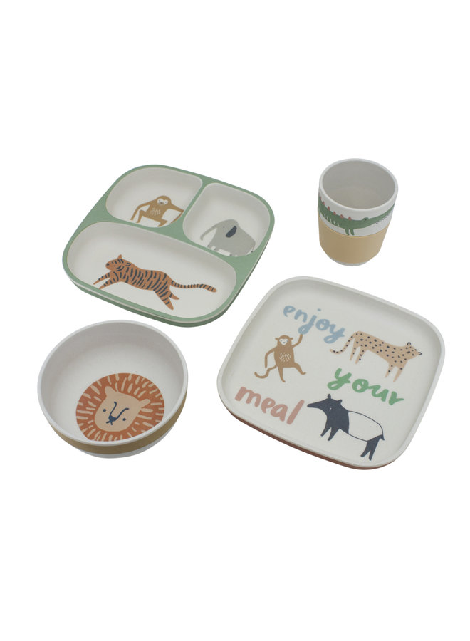 Bamboo melamine dinner set Wildlife