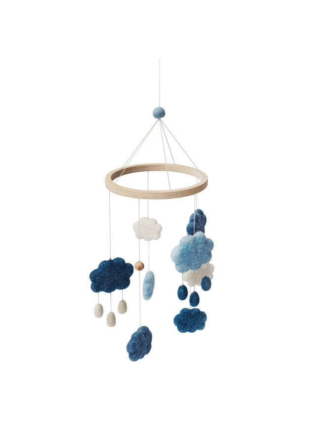 Felted baby mobile, clouds, royal blue
