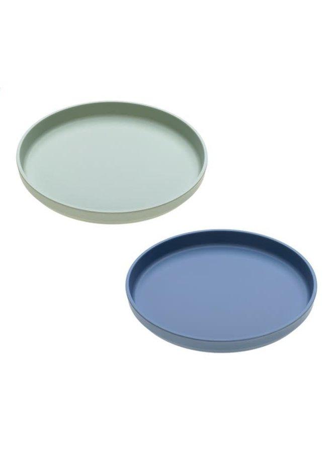 Bamboo bord, 2st, blauw/mint