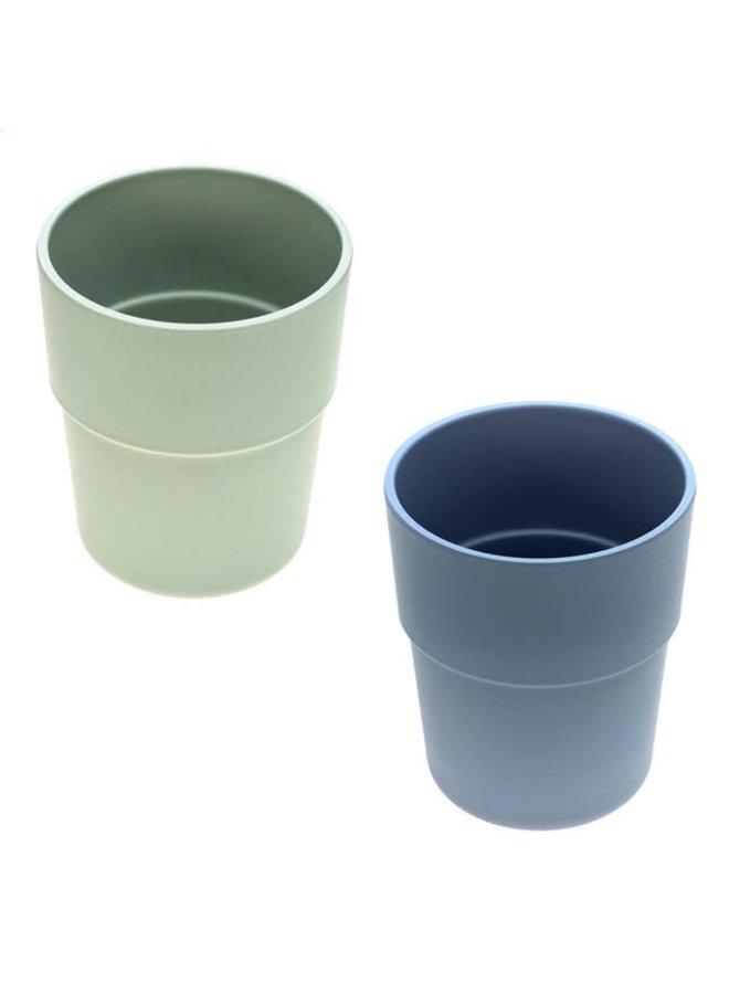 Bamboo Beker set, 2st,   blauw/mint