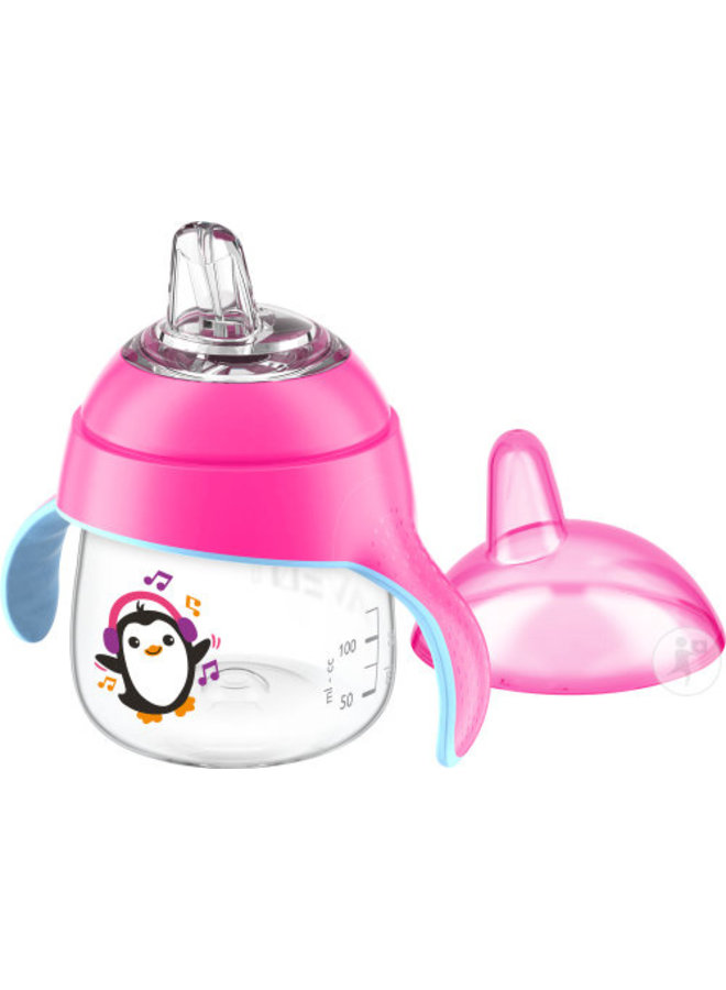 Leakproof cup with drinking spout, pink