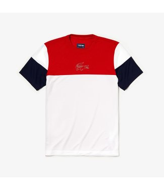 Lacoste Lacoste Sport Technical Tee Wit/Rood/Blauw