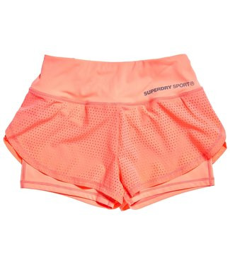 Superdry Superdry Sport TRAINING DOUBLE LAYER SHORT Coral