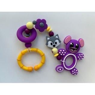 Wurmito Beisskette violett/gelb mit Halter
