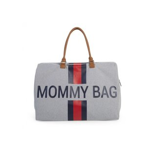 Childhome Mommy Bag canvas grey stripes red/blue