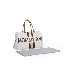 Childhome Mommy Bag canvas goff white stripes black/gold