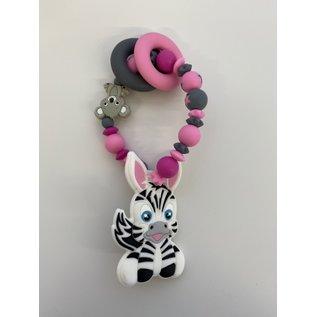 Wurmito Beissringkette grau/rosa/pink