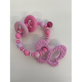 Wurmito Beissringkette rosa Schmetterling