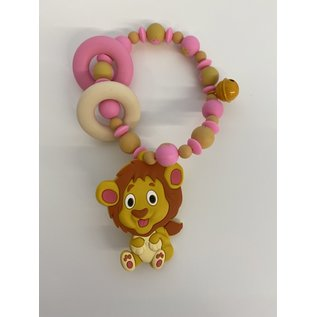 Wurmito Beissringkette rosa/beige Löwe