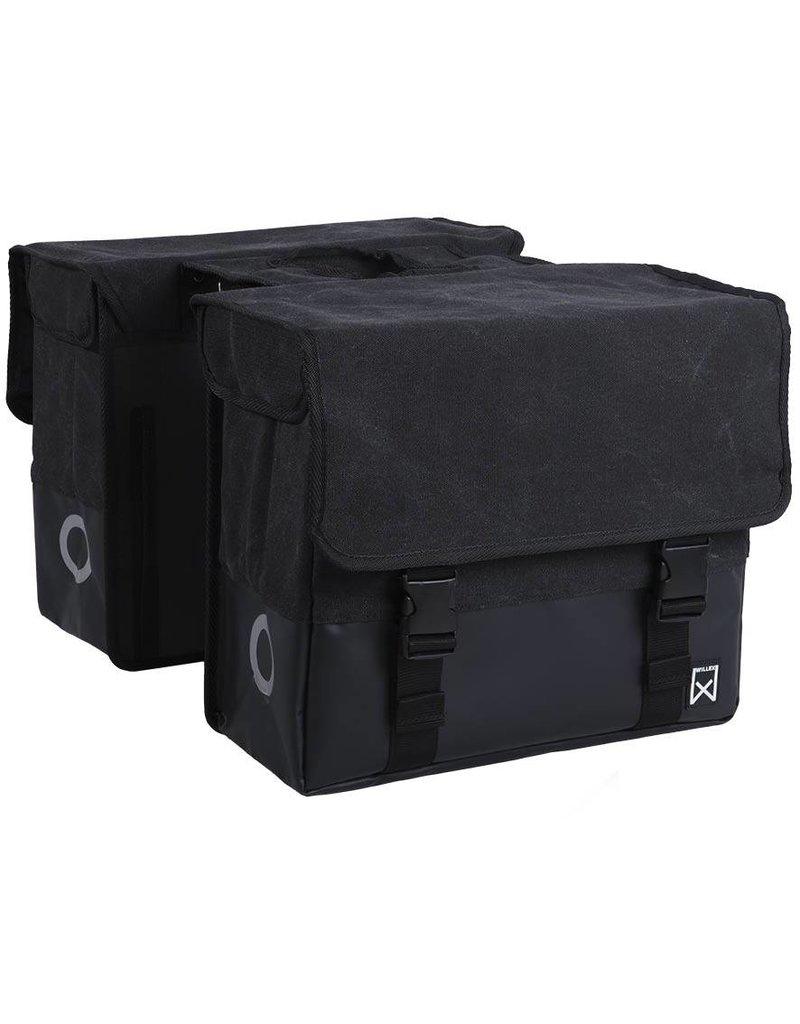 Willex dubbele canvas tas zwart/matzwart 30L
