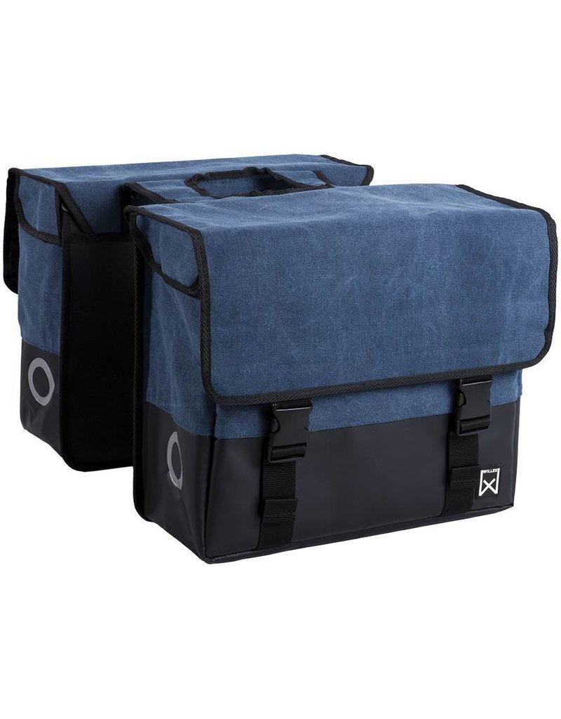Willex dubbele canvas tas blauw/matzwart 30L