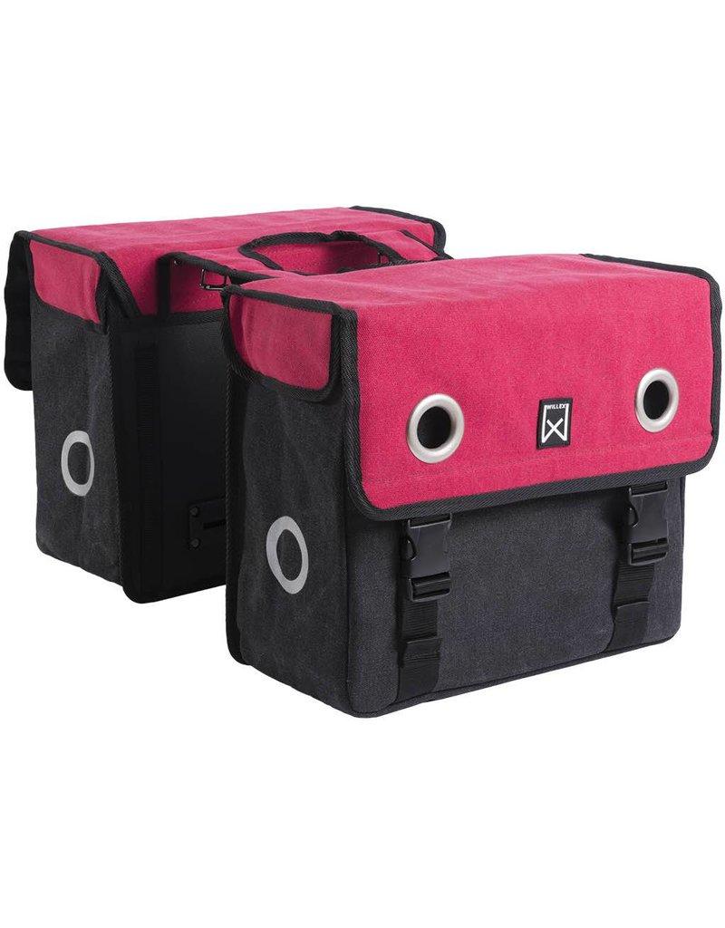 Willex dubbele canvas tas rood/zwart 40L