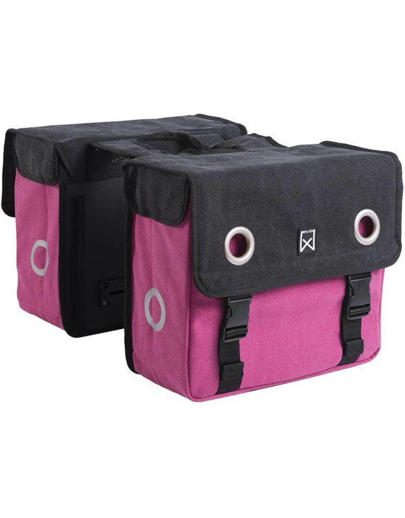 Willex dubbele canvas tas zwart/roze 40L