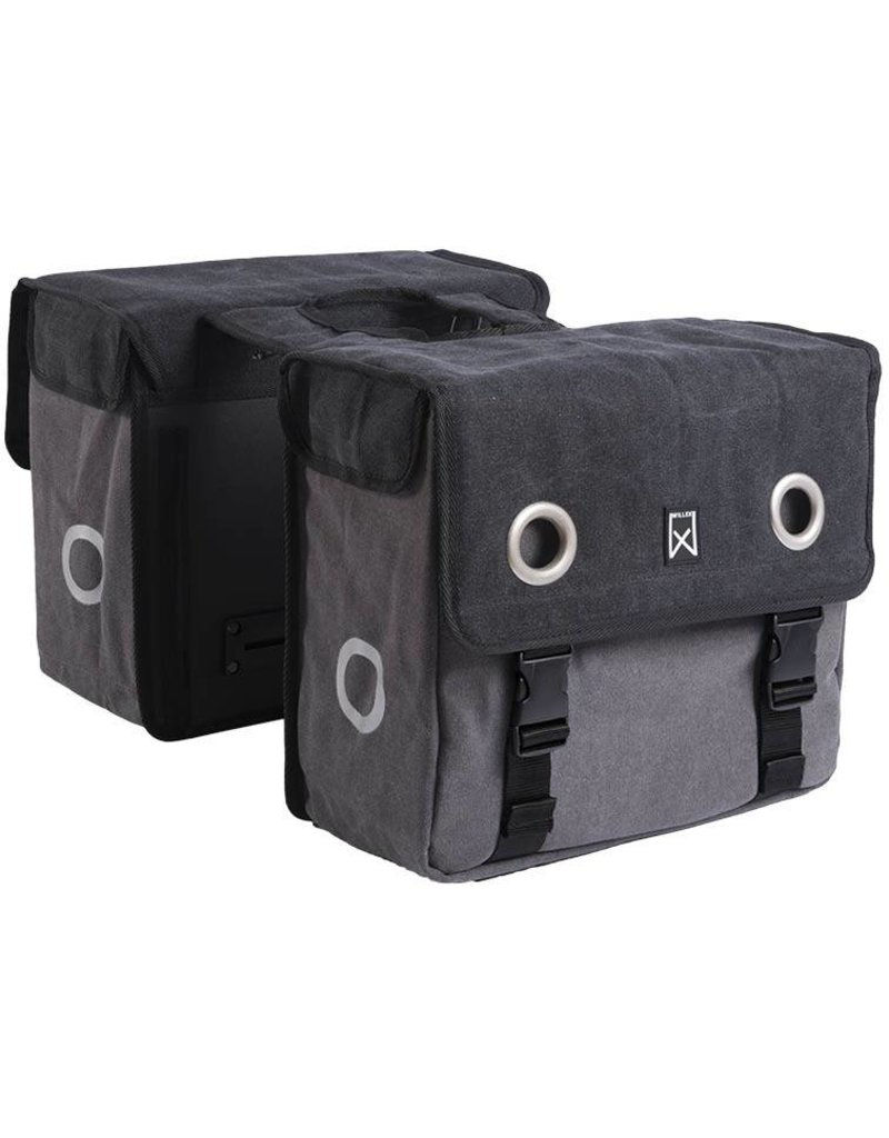 Willex dubbele canvas tas zwart/grijs 40L