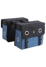 Willex dubbele canvas tas zwart/blauw 40L