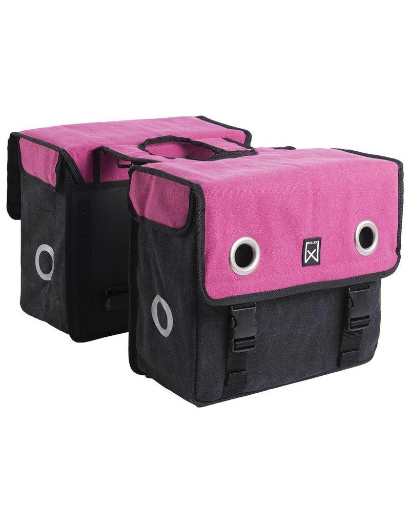 Willex dubbele canvas tas roze/zwart 30L
