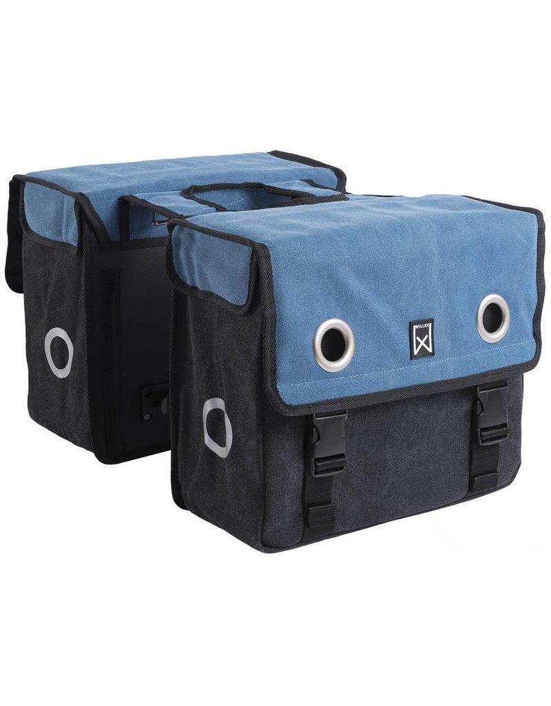 Willex dubbele canvas tas blauw/zwart 30L