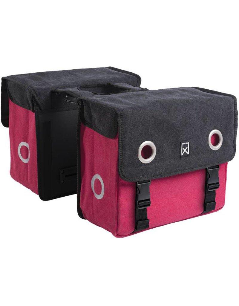Willex dubbele canvas tas zwart/rood 30L