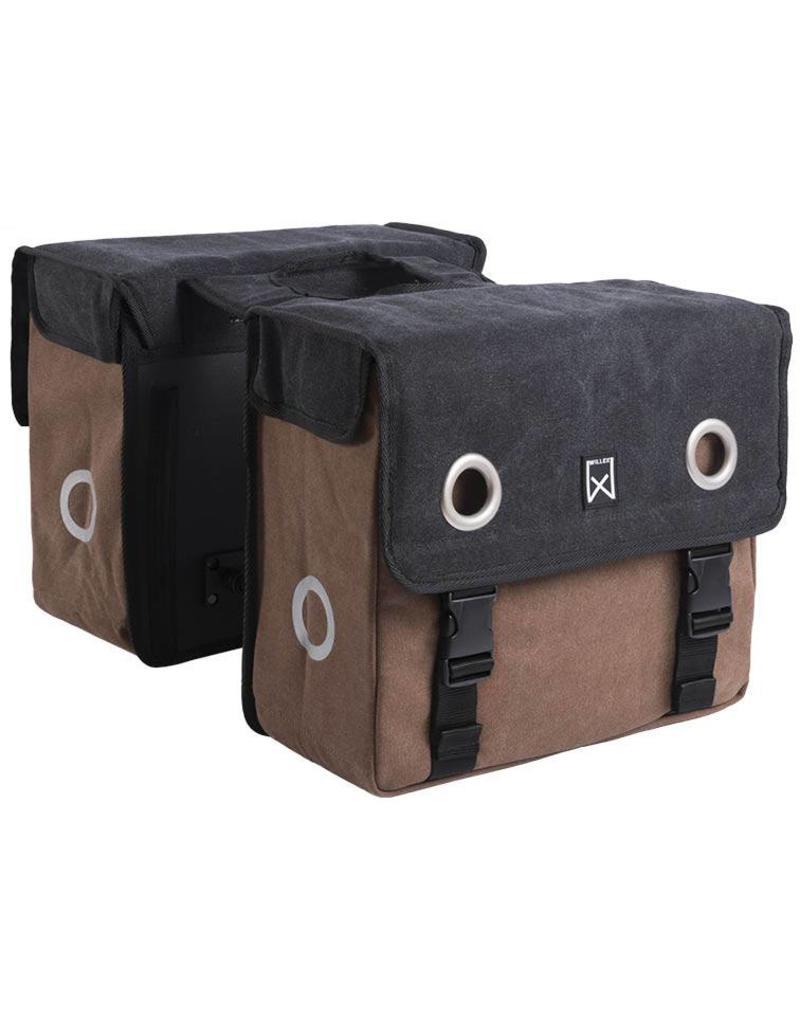Willex dubbele canvas tas zwart/bruin 30L