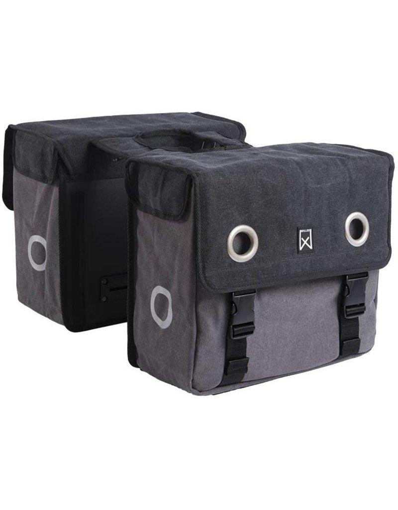 Willex dubbele canvas tas zwart/grijs 30L