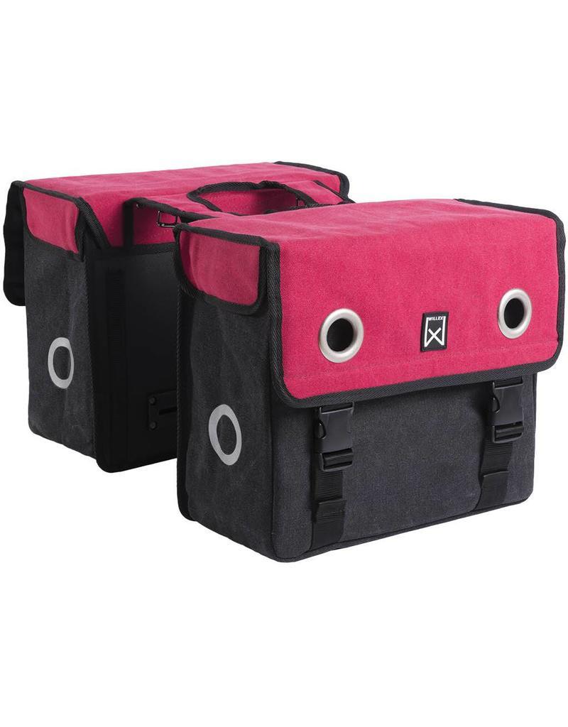 Willex dubbele canvas tas rood/zwart 20L