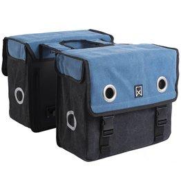 Willex dubbele canvas tas blauw/zwart 20L