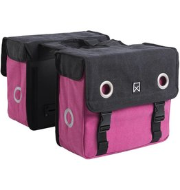 Willex dubbele canvas tas zwart/roze 20L