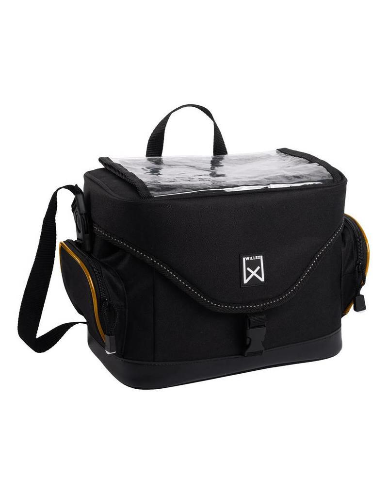 Willex stuurfietstas zwart/oranje 10L