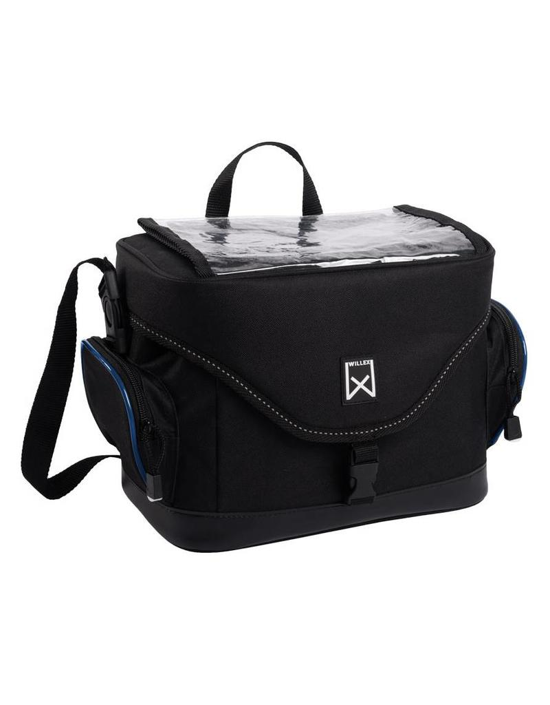 Willex stuurfietstas zwart/blauw 10L